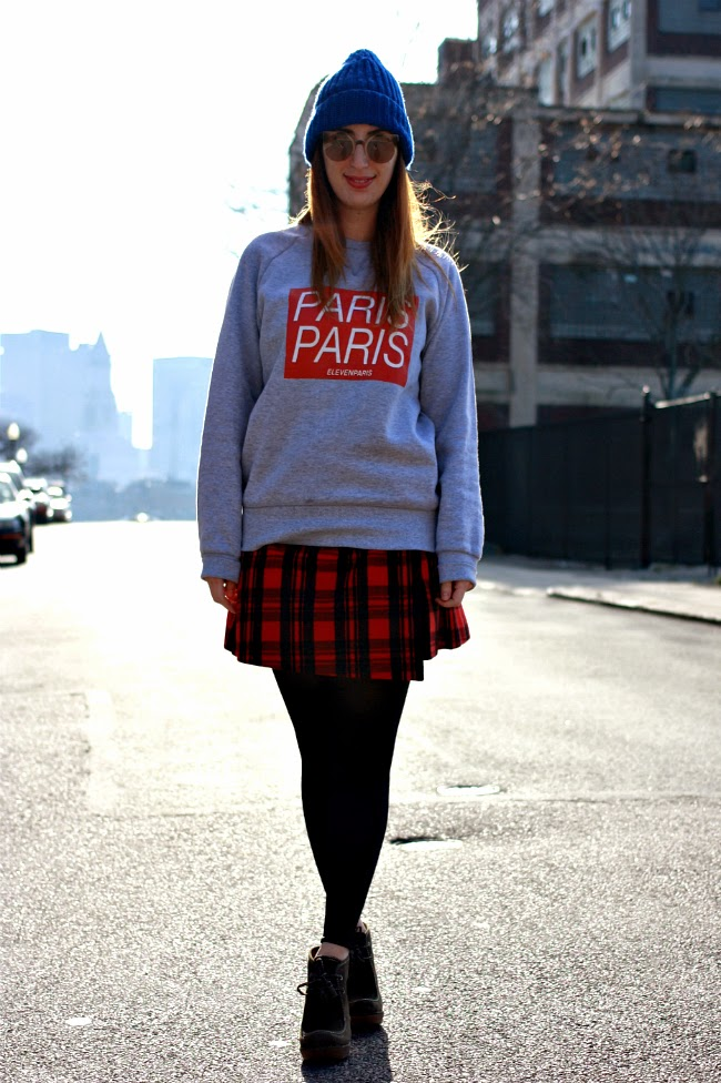 Sweatshirt,  ElevenParis ; Skirt, Kate Spade Saturday; Beanie, Sandro Paris; Sunglasses, Make My D in Montmartre, Paris; Shoes, R2 by Report