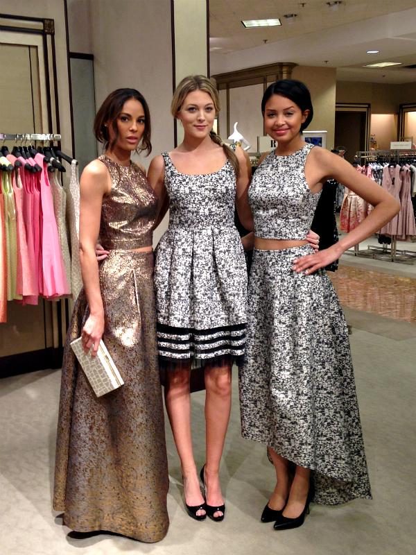 Models at the designers' in-store appearance at Neiman Marcus in Boston. From left to right, Torchon Metallic Top, $225 and Skirt, $595, Sleeveless Tiered Party Dress, $495, and Granite Print Crop Top. and Skirt, $495.