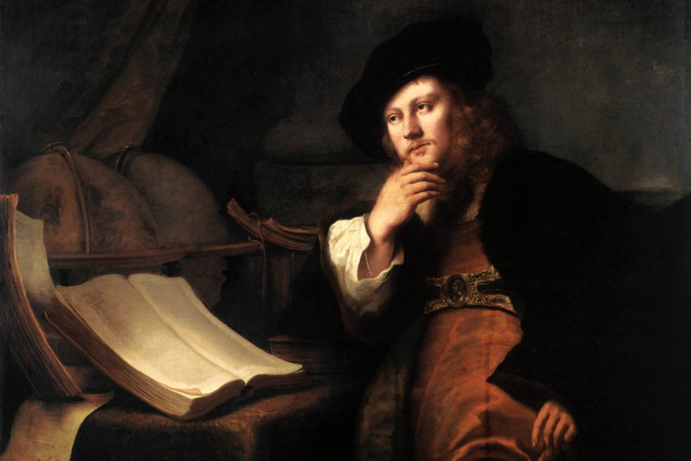 A Scholar at His Desk,   1652 /   Oil on canvas, 127 x 135 cm /   National Gallery, London