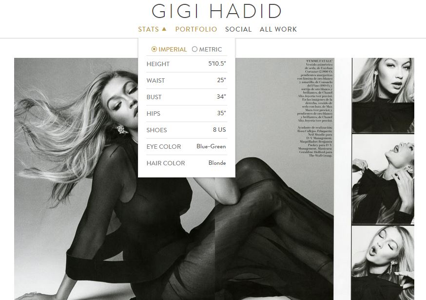 "These are Gigi's stats from her IMG Portfolio. Nothing here screams ""large"" to me - and numbers don't lie."