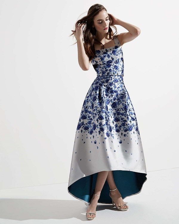 Floral mesh insert top, $325 and ball gown, $495 via Neiman Marcus.