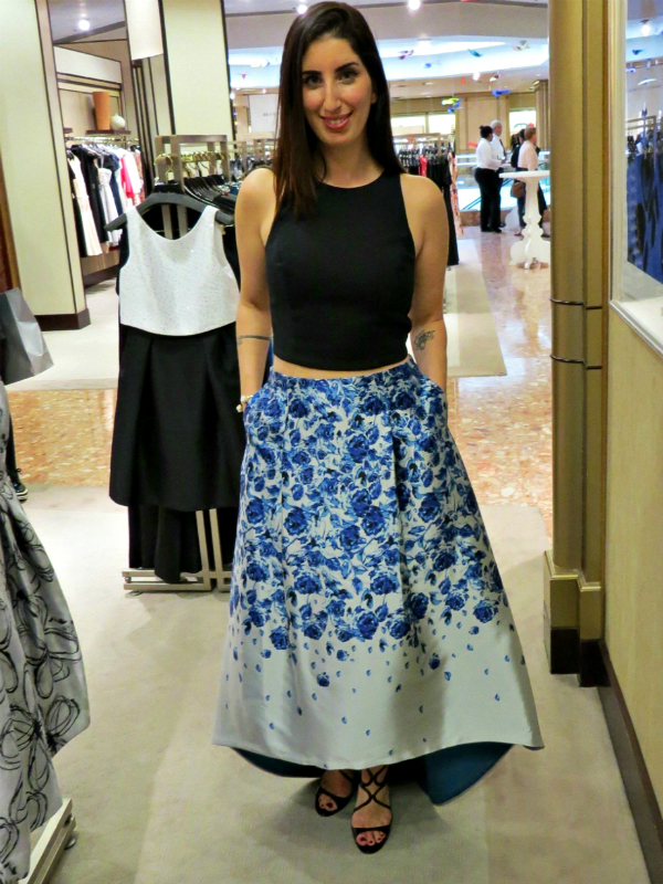 Sachin & Babi Crop Top, $250 + Ball Skirt, $495 and Jimmy Choo Ivette Sandal, $795 all at Neiman Marcus.