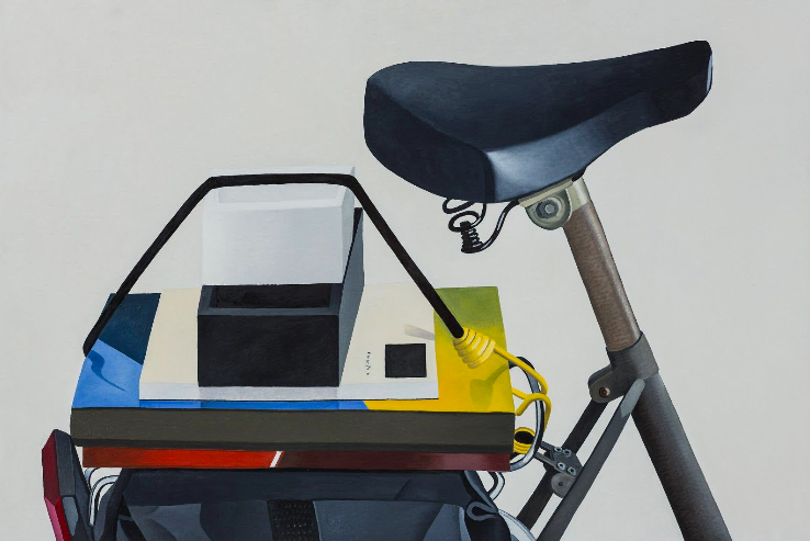 Still life on my bicycle, 2005, oil on canvas, 39 x 59 inches. Courtesy the artist.
