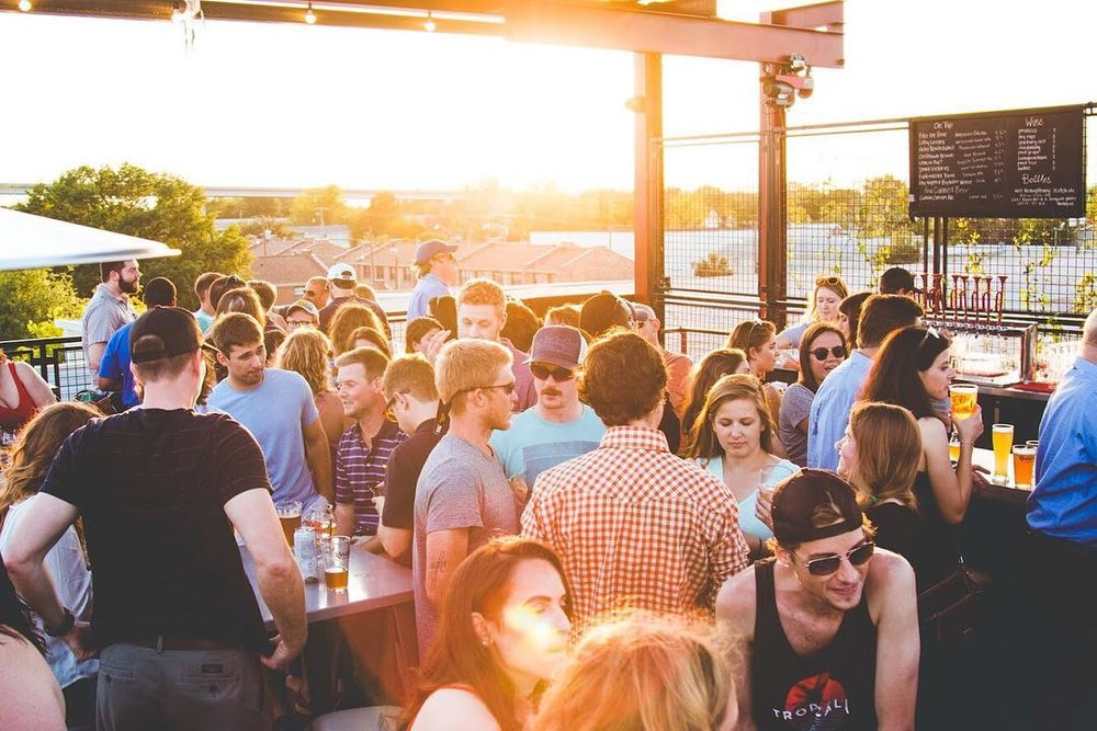 The rooftop at Revelry Brewing. Image via Revelry Brewing Co.
