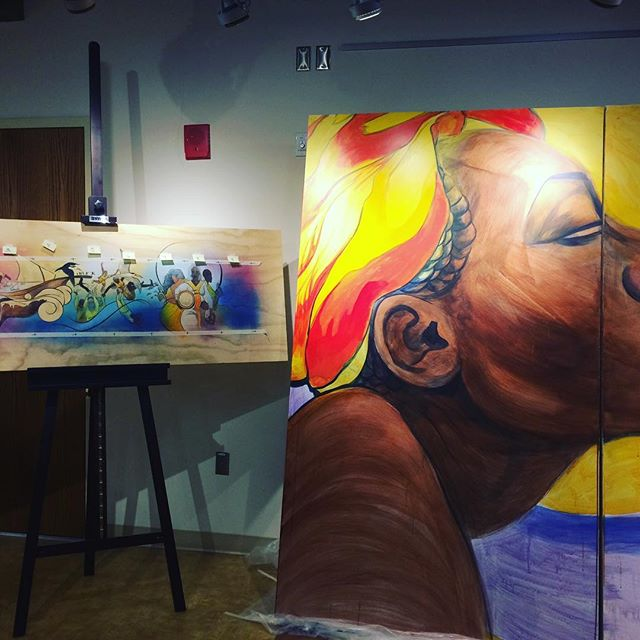 Sneak peak at the larger than life interactive mural Dare Coulter is creating in the Craft Center at NCSU for the Nile Project. You can see the final product at the Roundabout in April! #localart