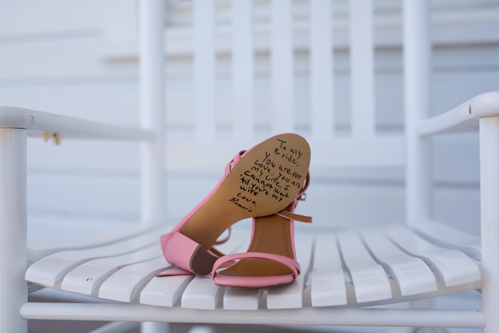 Wedding Shoes With A Letter From The Groom