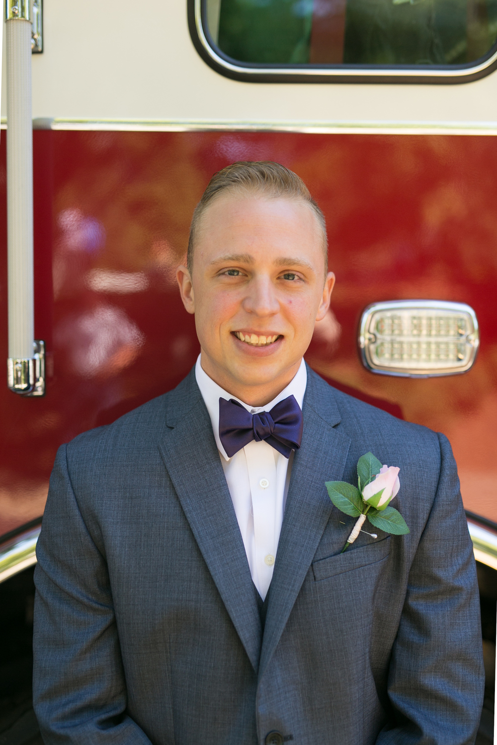 Fireman Wedding Groom With Bright Red Firetruck