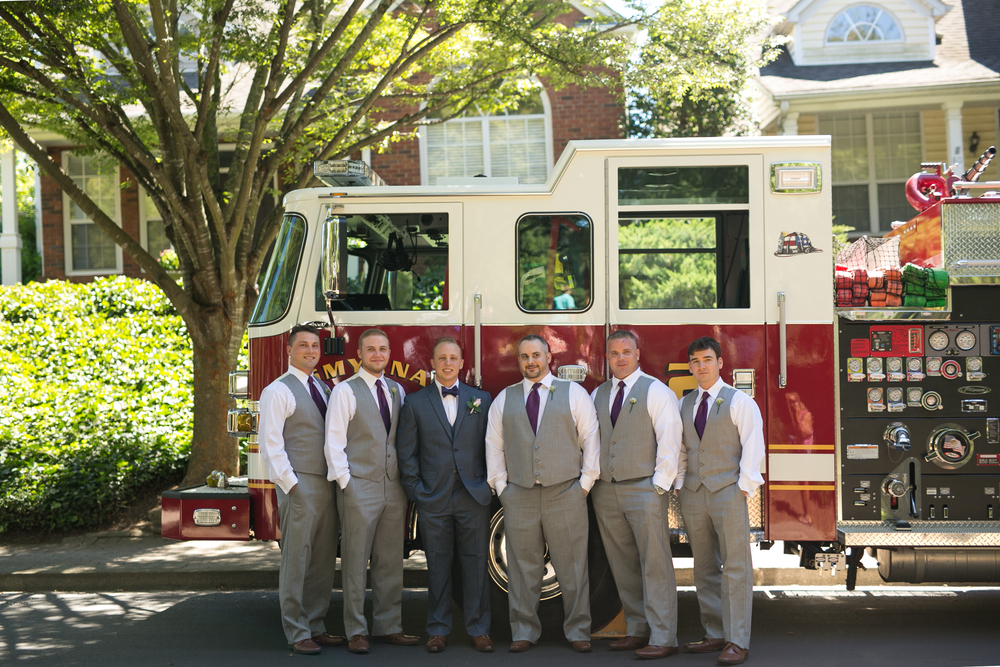 Wedding Party Groom & Groomsmen Firemen With Firetruck