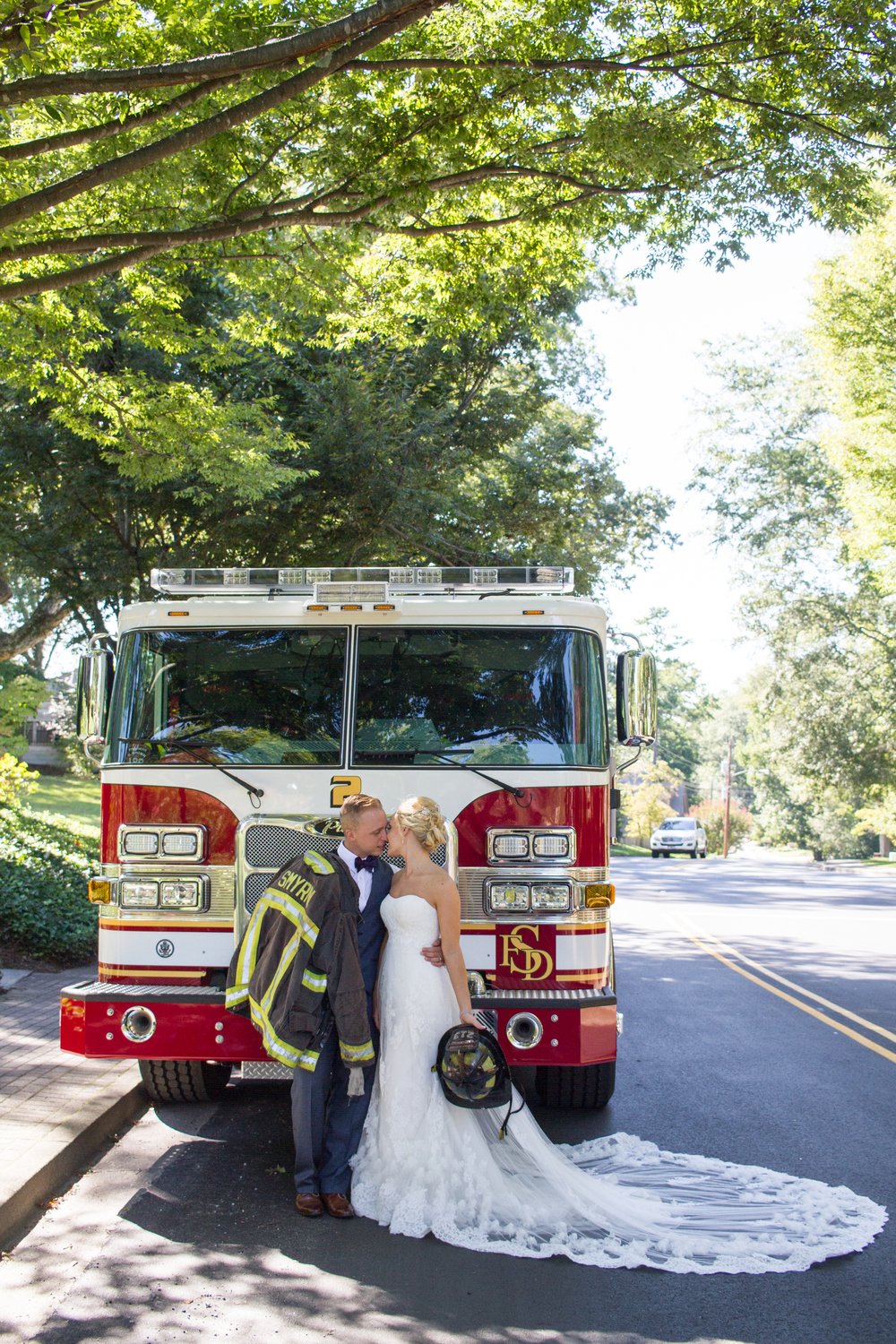 Firetruck Wedding Bride and Groom