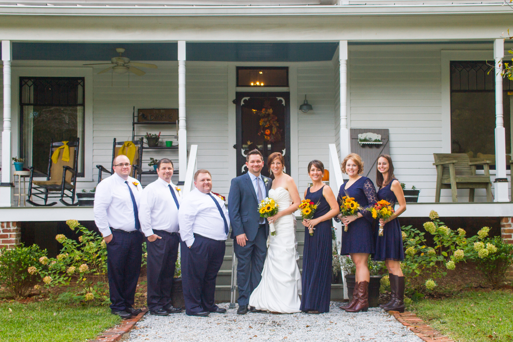 Bridal Party Navy Dresses And Sunflowers