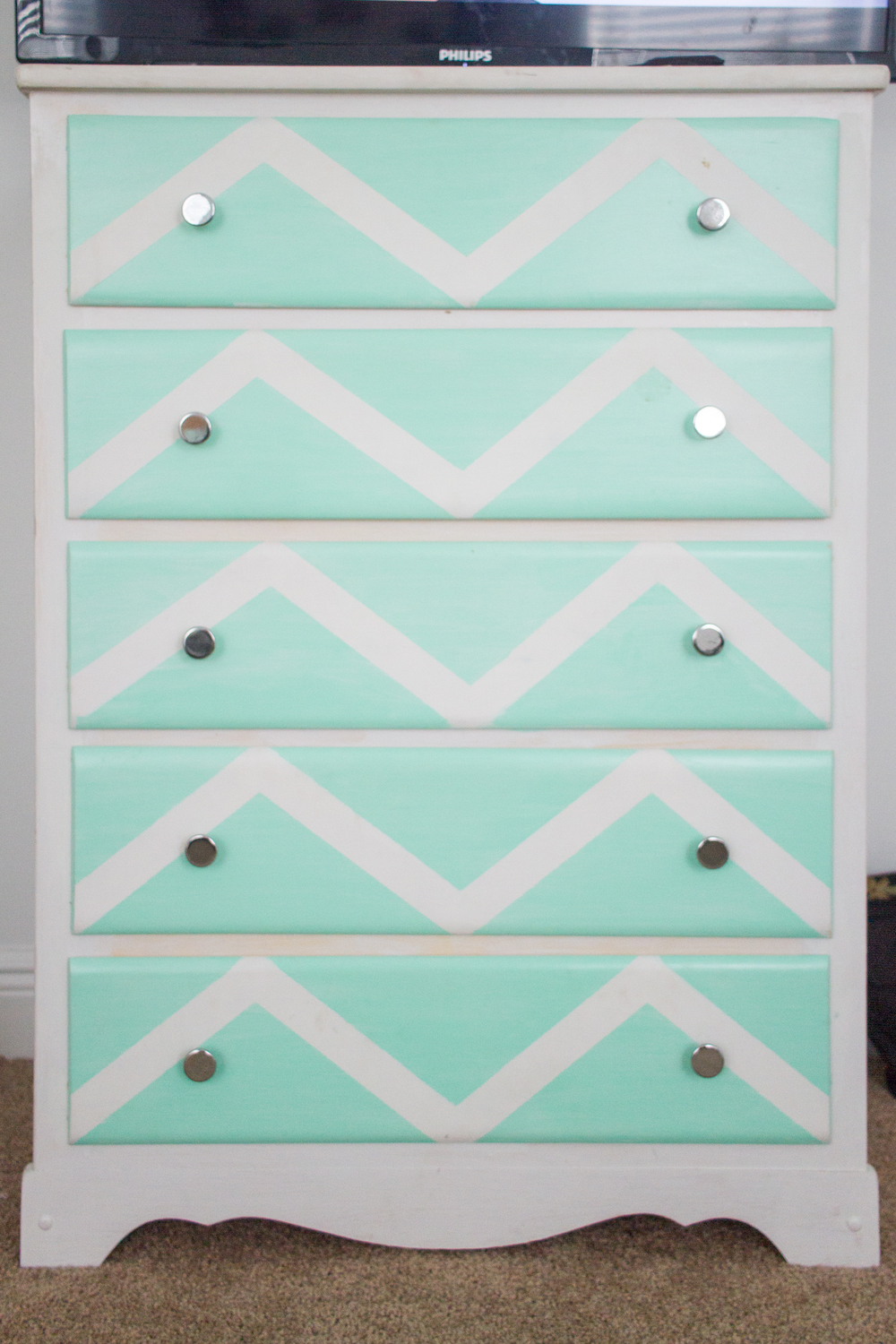 Dresser Before Mint Green Chevron Pattern