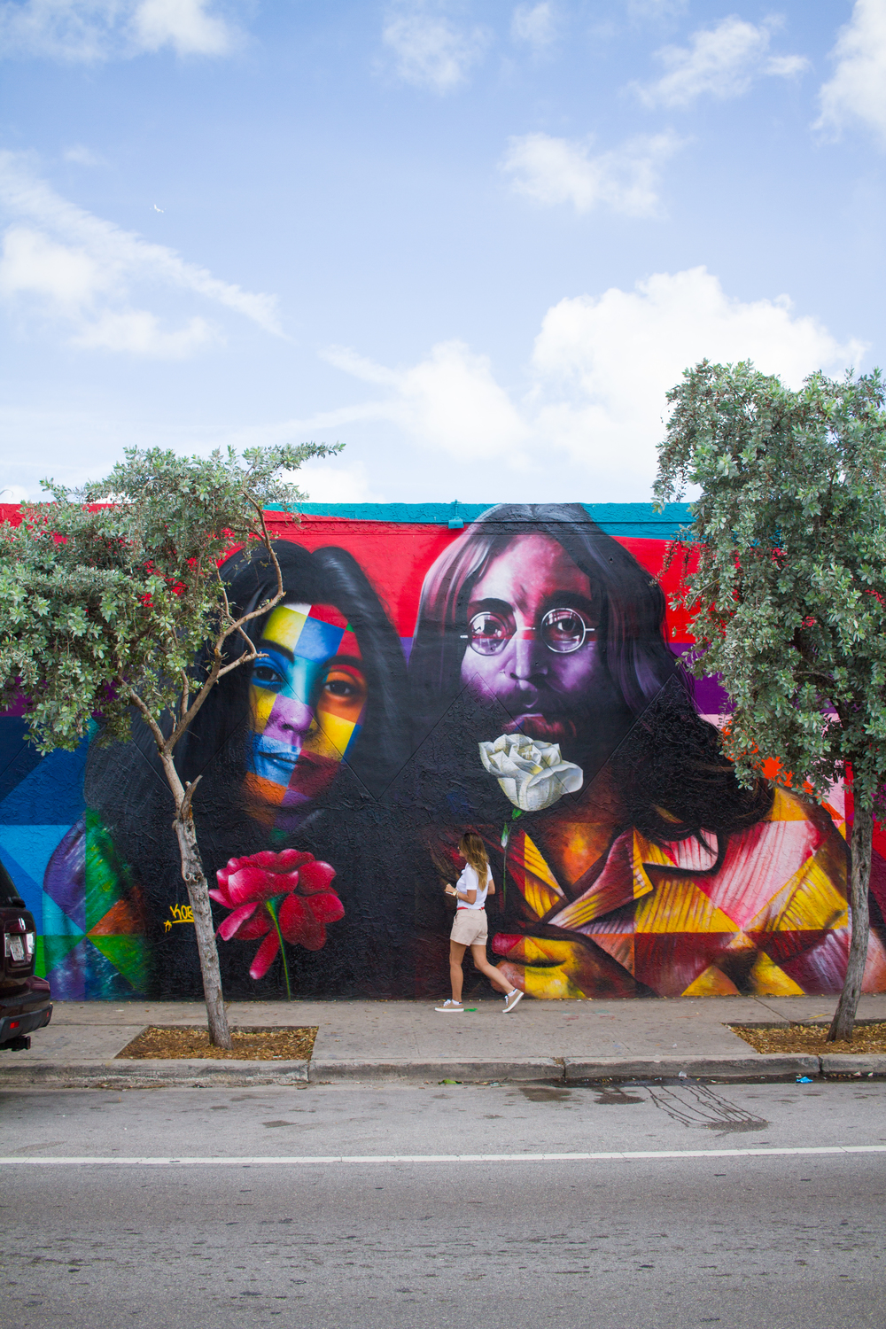 John Lennon and Yoko Ono Art Mural Miami Wynwood