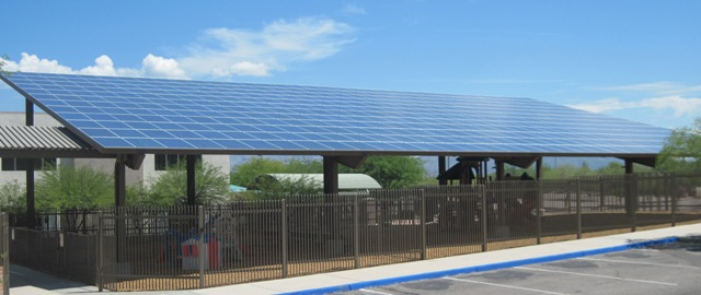 This solar array provides shade for the kid's playground