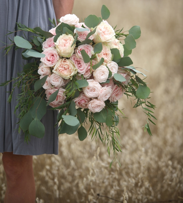 Pink Garden Rose Wedding Bouquet