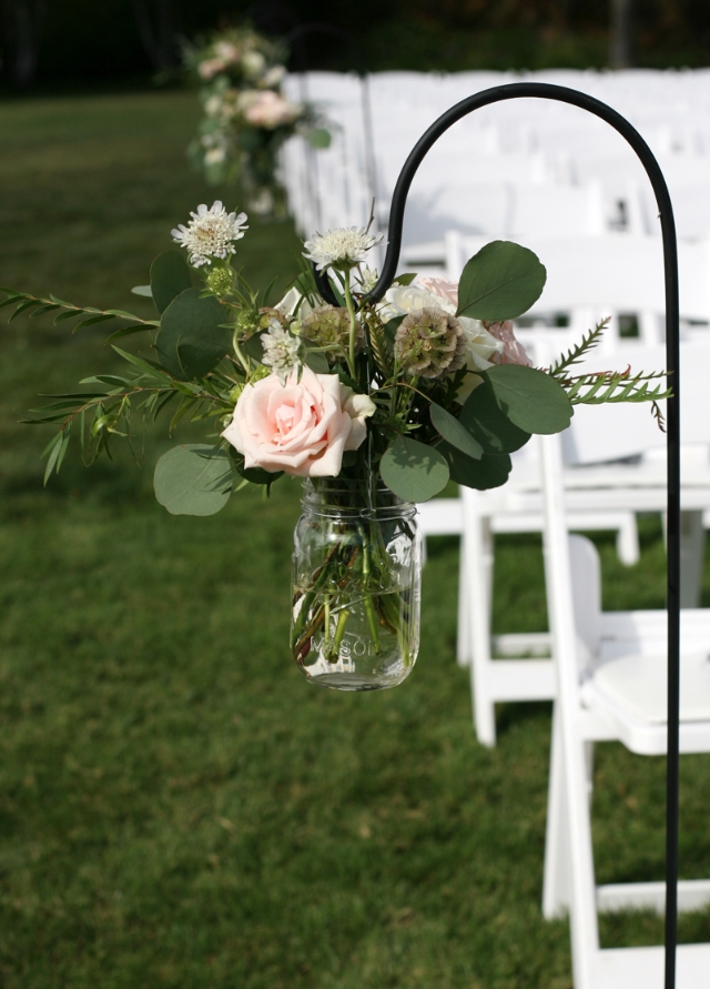 Wedding Aisle with Mason Jars & Shepherds Hooks