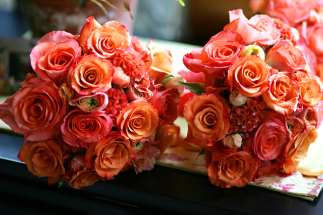 Coral Wedding Bouquets