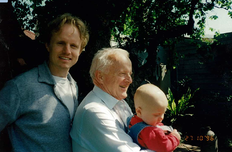 James, John and Harry Button, 1996. John's first grandchild.