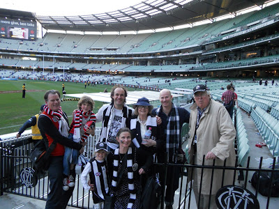 Arfur Sublet, far right, with his (mainly) Collingwood brood at 2010 Grand Final replay. Anna is kneeling at front.