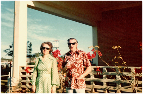 cc312a70f1 Here we see dad and mum at the Cluden Races in Townsville circa 1974. Look  at him absolutely owning his batik over shirt with pockets.