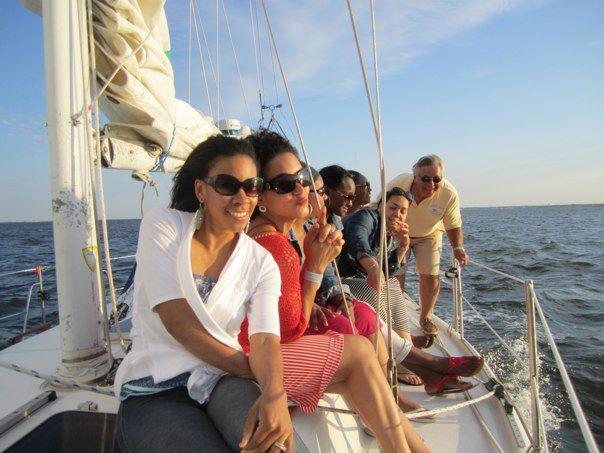 I'm on a boat in Barnegat Bay, NJ!