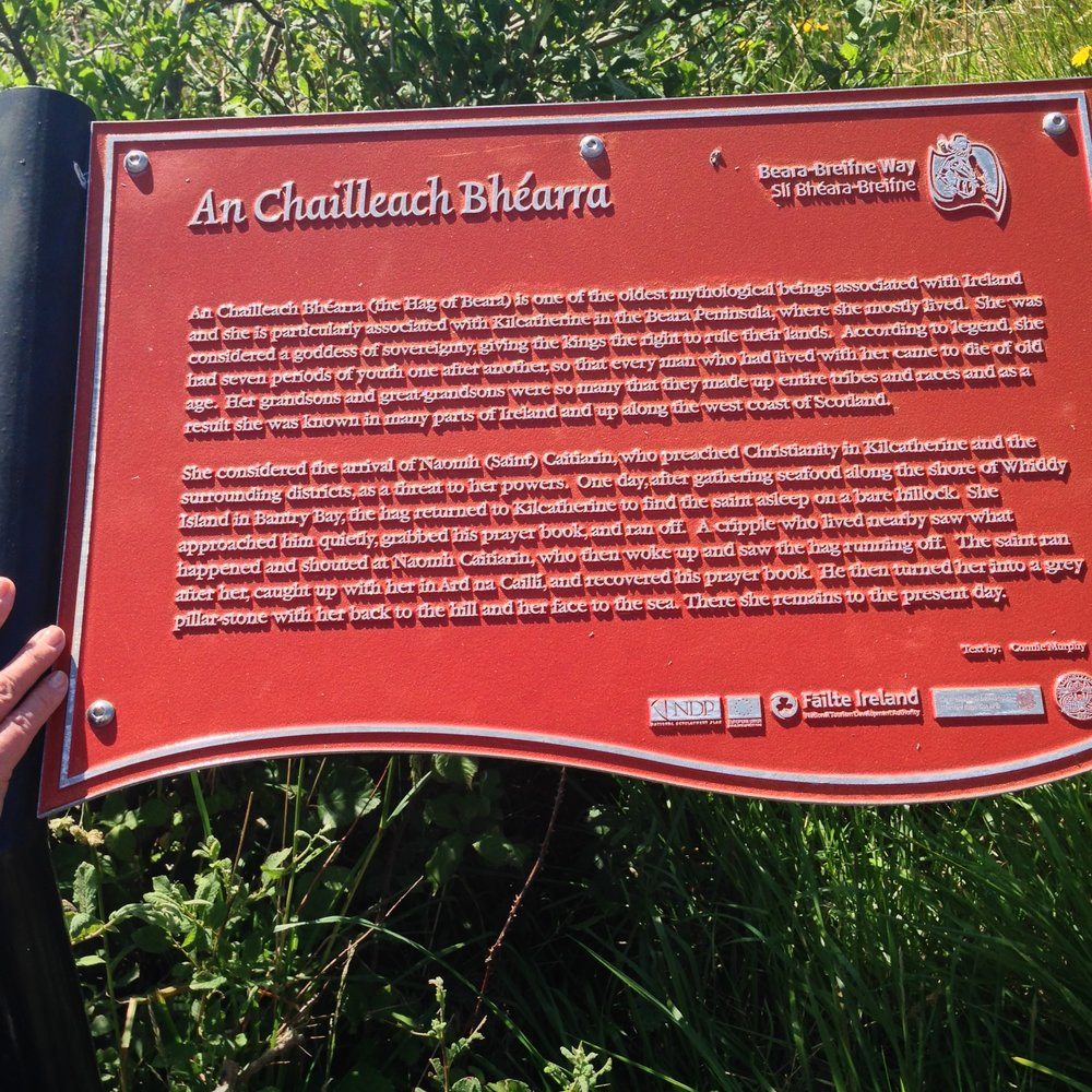 Placard at the Hag of Beara, or An Chailleach Bhéarra in Irish