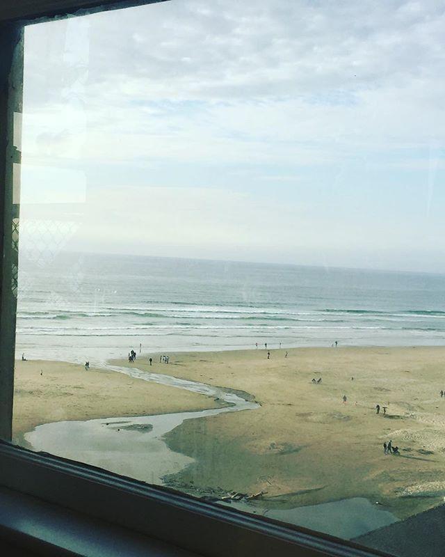 View from my window as I write #writingretreat #oregoncoast #nyebeach #septemberbythesea