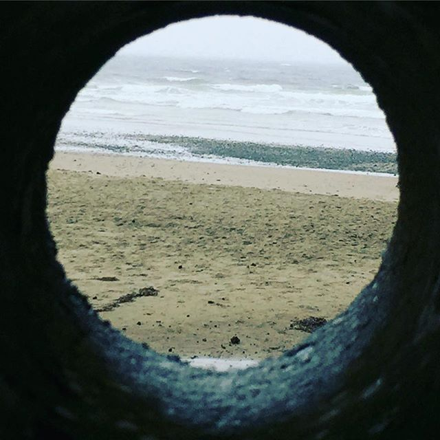View from a light-dotted tunnel #septemberbythesea #writingretreat