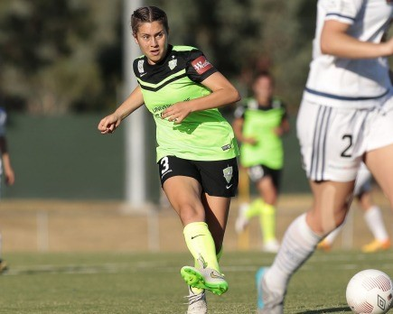 Upper 90 Apac recruit Julia De Angelis In action for Canberra United (W-League)