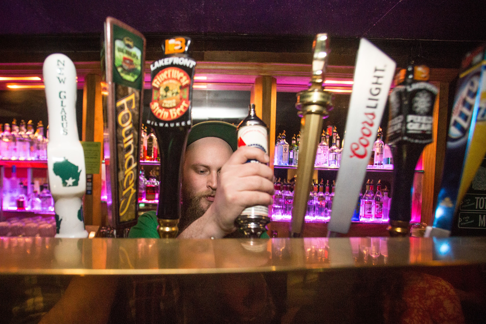 Tap beers in The Moon Room at Landmark Lanes
