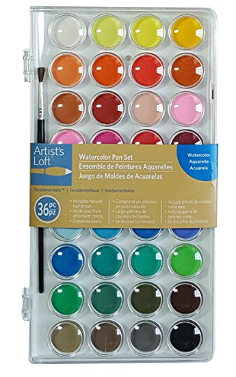 Artists Loft Fundamentals Watercolor Pan Set, 36 Colors