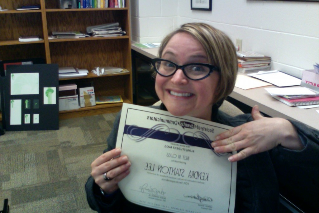 Let's pretend I'm not awkward enough to take this pic of my award whilst sitting solo at my desk.