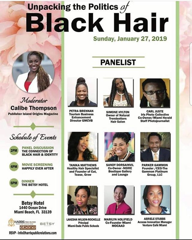 Tomorrow Sunday January 27th  It's all about @tanikastylz company @cutteasegrow during the 'unpacking the politics of Black Hair'  Tanika is my personal hair stylist and my hair has never been better !!! Don't miss out on this great panel.