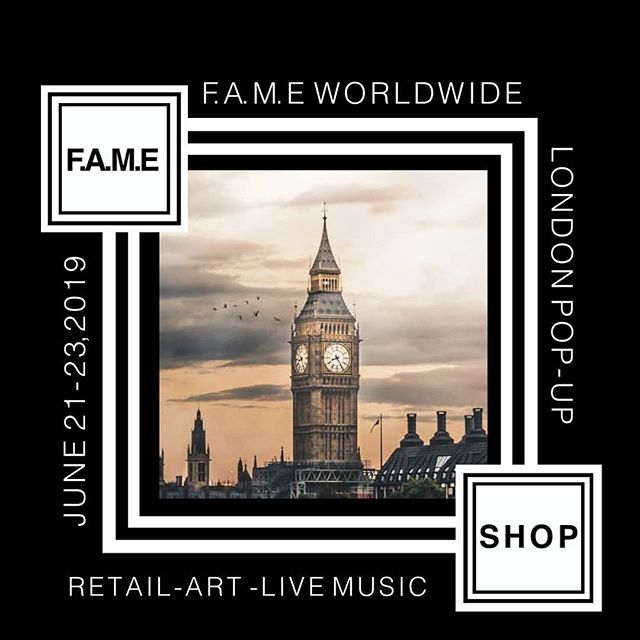 @fame.worldwide #London Pop-up  on June 21-23, 2019 is a 3 Day Retail Pop-up featuring #Art #Brands #WearableArt  in one of #London top #shopping area #Shoreditch  Art Installations - Pop up Shops - Live Music & some Special Surprises will be announced soon.  #popup #popupshop #fashion #art #music #experience #events #uk #retail #shoppingaddict #womensfashion #mensfashion #wearableart #wholesale #available #shop #shoreditch #highstreet #fameworldwide #fametakeover #fame