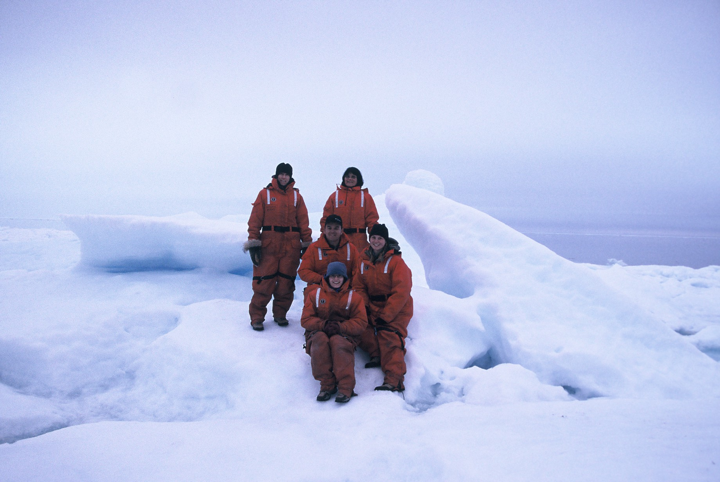 The medical team aboard an iceberg off Baffin Island - Arctic region