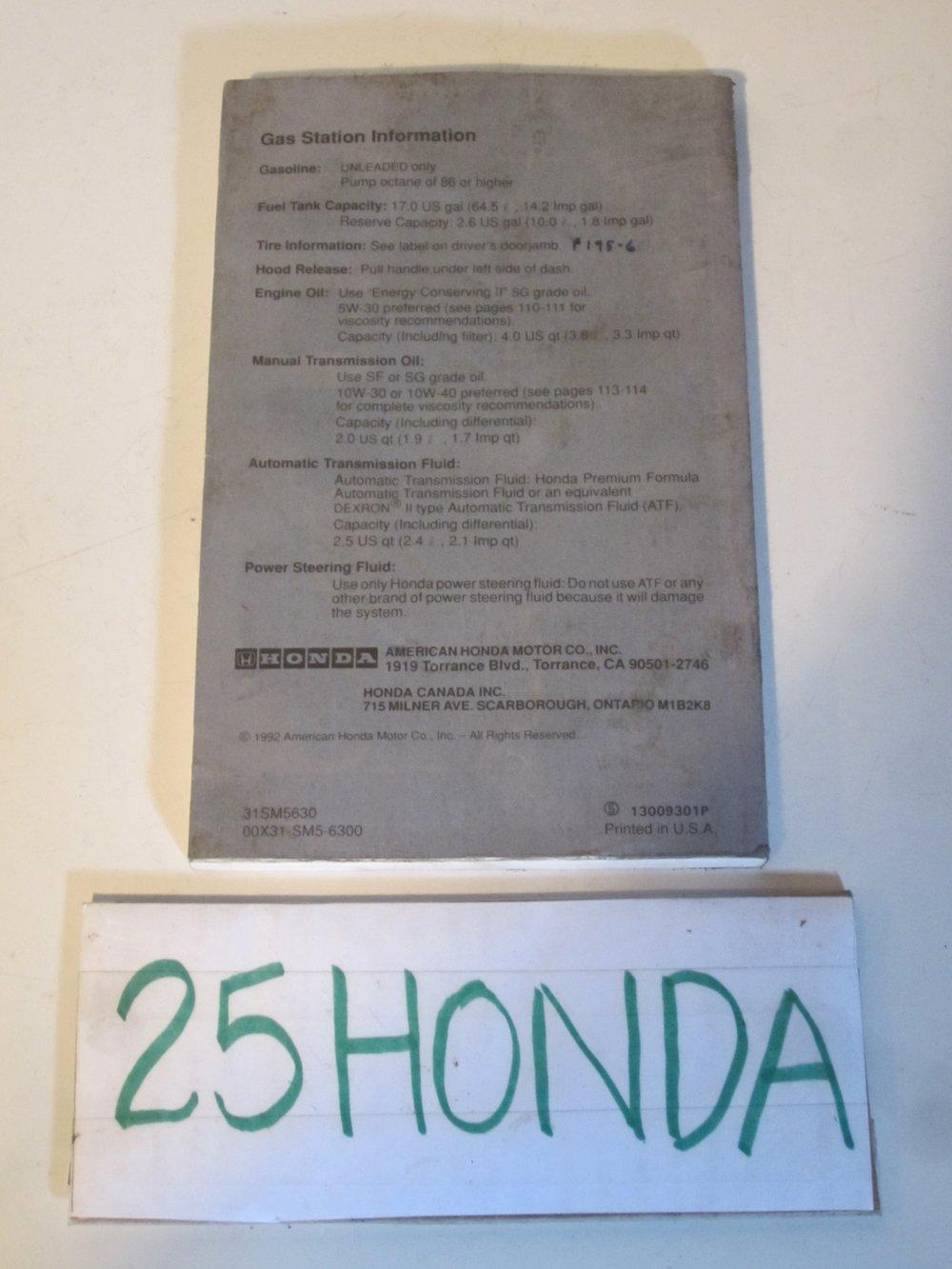 1993 honda accord wagon factory owner s manual oem 25hondalouver rh 25honda com Honda Accord Repair Manual Honda Accord Manual Online