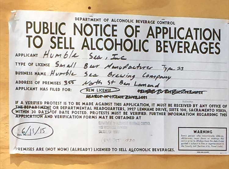 The public notice we stapled to the outside of our brewhouse up in the Santa Cruz Mountains.