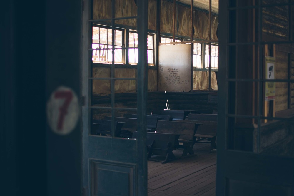 A classroom at the abandoned mining town of Humberstone. The following few photos are from there, we really loved it, it was hot as hell and in the desert but super interesting.