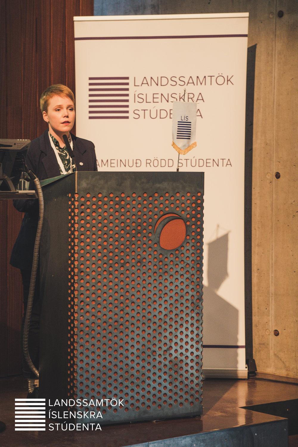 Elsa María Guðlaugs Drífudóttir flytur framboðsræðu sína