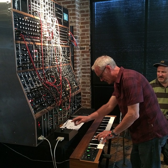Rod playing at the Moog factory in Asheville