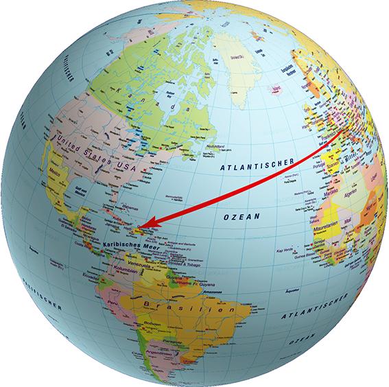 Die Distanz zwischen der Schweiz und Haiti beträgt 7'780 Kilometer.