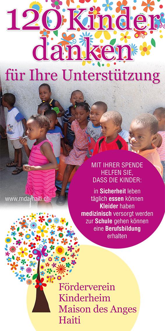 120 Kinder danken: Neuer Werbebanner des Fördervereins Kinderheim Maison des Anges