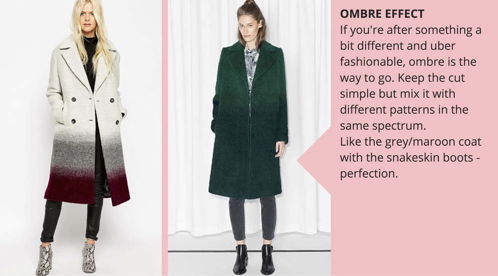 Left,  asos oversized coat, £110 ; right,  & Other Stories gradient coat, £165