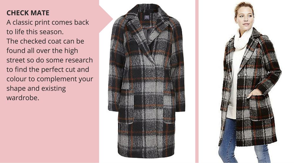 M&S checked coat, £89
