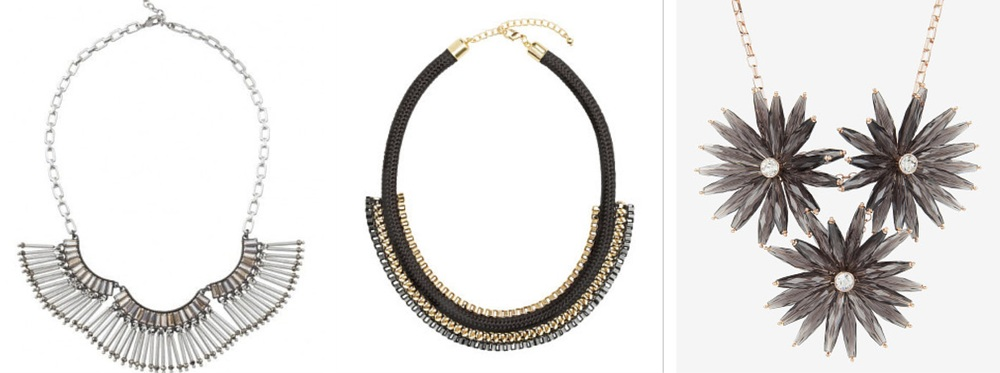 Stella & Dot Twilight Necklace, £50;H&M Short Necklace, £7.99;Ted Baker Floria Starburst Necklace, £79;