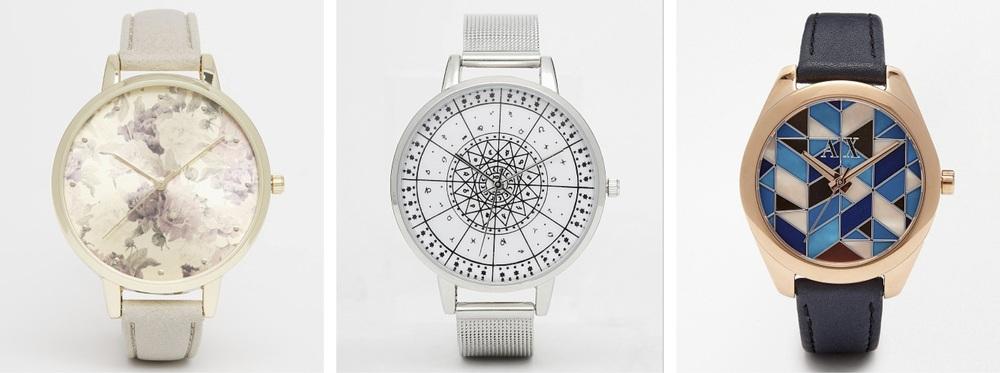 New Look Floral Watch, £12.99;ASOS Mesh Astrology Watch, £25;Armani Exchange Sarena Watch, £175