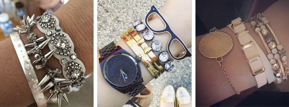 Stella & Dot Arm Party, from a selection;Arm Party from @MissChrisyCharms featuring Kate Spade and Stella & Dot; Lolo's own arm party, featuring Monica Vinader and Stella & Dot