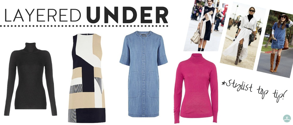 from left:  jigsaw polo neck , £79;  oasis shift dress , £46.40;  warehouse denim dress , £36;  basler knit roll neck , £40.80