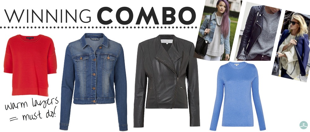 From left:  French connection ribbed jumper , £55;  noisy may denim jacket , £26;   gray & willow leather biker , £215.20;  whistles knit jumper , £65