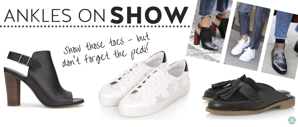 from left:  jigsaw shoe boot , £159;  topshop trainers , £26;  dune backless loafer , £56