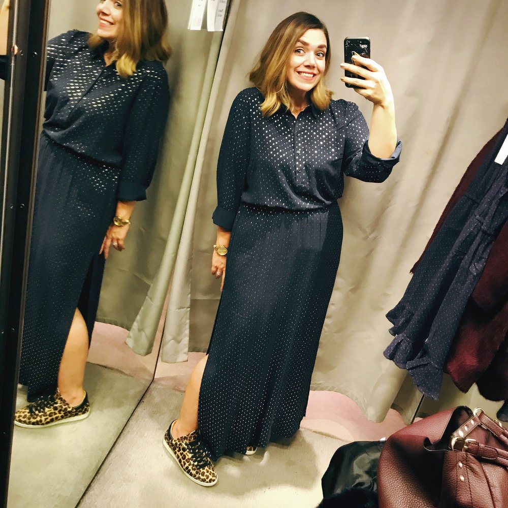 I loved dressing down this Hush maxi with my favourite Air & Grace Copeland trainers.